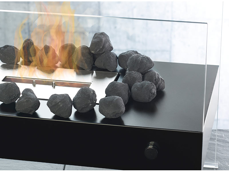 Carlo milano kamin dekorationen deko steine f r bio for Schwarze steine deko