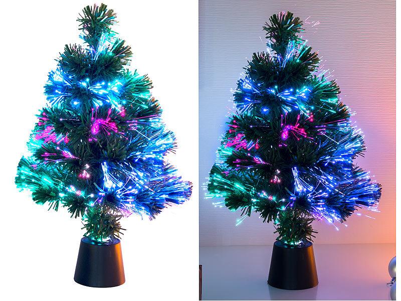 Künstlicher Weihnachtsbaum Mit Deko Und Beleuchtung.Lunartec Fiberglas Weihnachtsbaum Deko Tannenbaum Dreifarbige Led