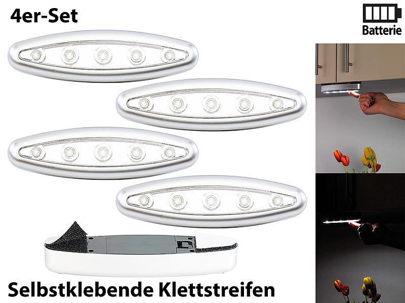 lunartec schranklampen stick 39 n 39 push light silver giant 4er set led schrankleuchten. Black Bedroom Furniture Sets. Home Design Ideas