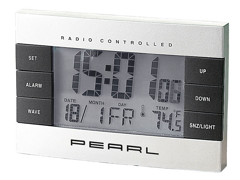 pearl reisefunkwecker digitaler funkwecker mit temperaturanzeige und kalender wecker mit. Black Bedroom Furniture Sets. Home Design Ideas