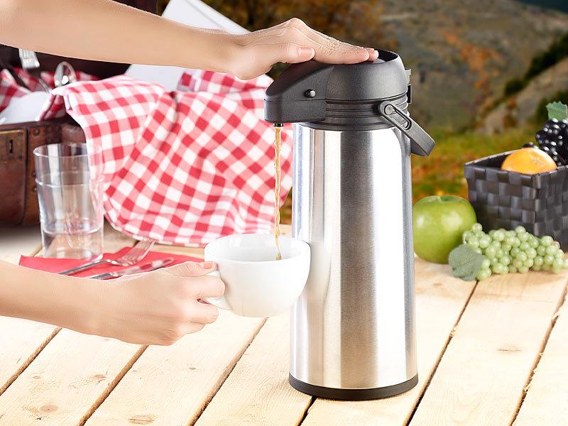 rosenstein s hne pumpkanne edelstahl pump vakuum isolierkanne 1 9 liter kanne. Black Bedroom Furniture Sets. Home Design Ideas