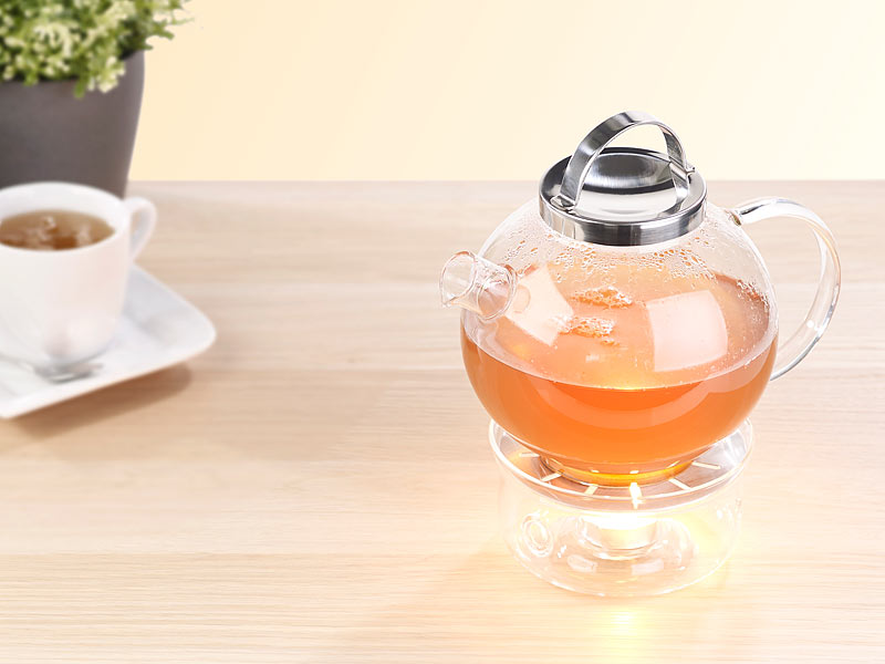 cucina di modena teekanne tee set aus glaskanne 1 5 l mit edelstahl sieb und st vchen. Black Bedroom Furniture Sets. Home Design Ideas