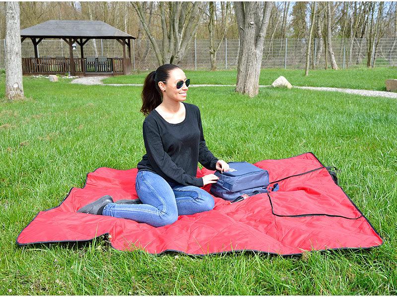b4908f23c372f9 PEARL 3in1-Picknickdecke mit Sitzkissen und Zudecke