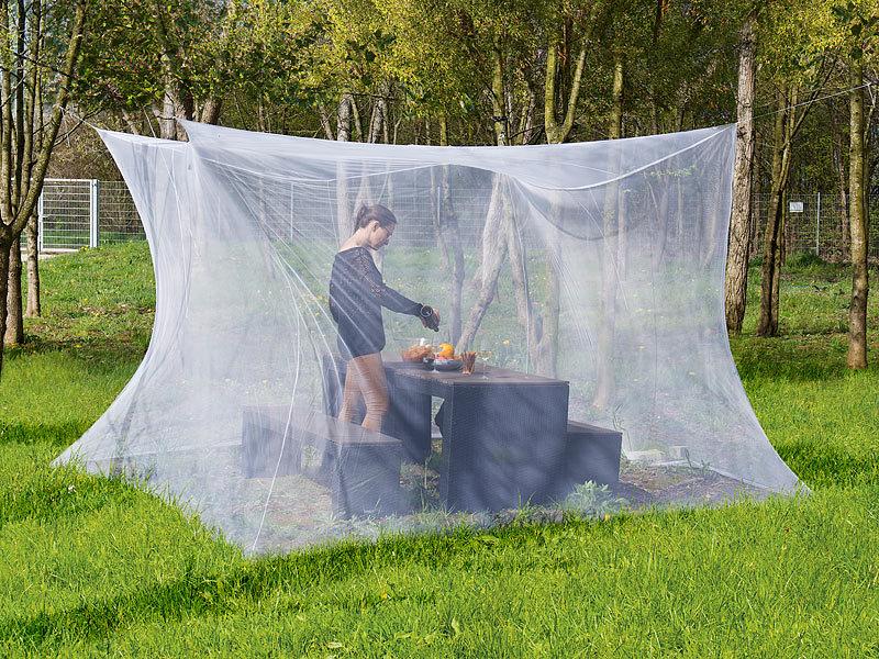 infactory mosquitonetz moskitonetz f r innen und au en 300 x 300 x 250 cm 220 mesh wei. Black Bedroom Furniture Sets. Home Design Ideas