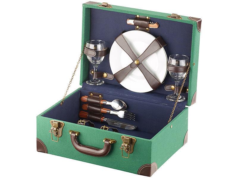 carlo milano picknickkorb picknick koffer voll best ckt f r 2 personen 11 teilig rattan. Black Bedroom Furniture Sets. Home Design Ideas