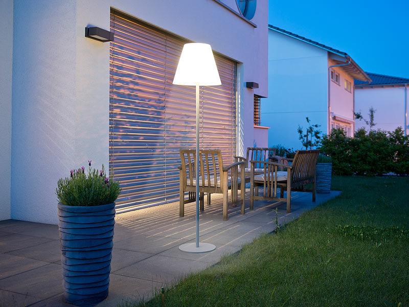 lunartec kabellose stehlampe kabellose solar led tisch stehleuchte 1 6 w 50 lm ip44 led. Black Bedroom Furniture Sets. Home Design Ideas