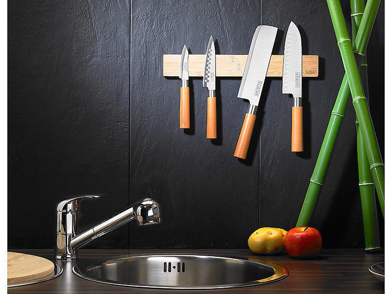 TokioKitchenWare Originelle Messer-Magnetleiste aus echtem Bambusholz