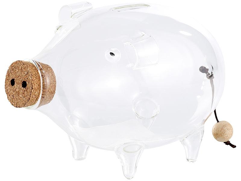 Carlo milano spardosen deko xl sparschwein aus glas 21 for Deko aus glas