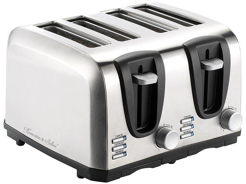 rosenstein s hne brot toaster edelstahl toaster f r 4 scheiben 1300 w design toaster. Black Bedroom Furniture Sets. Home Design Ideas