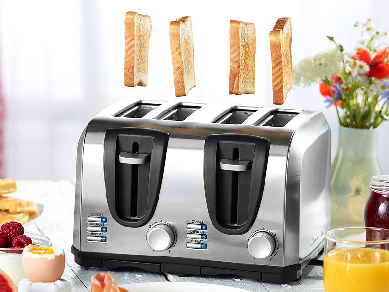 rosenstein s hne edelstahl toaster f r 4 scheiben 1300 w. Black Bedroom Furniture Sets. Home Design Ideas