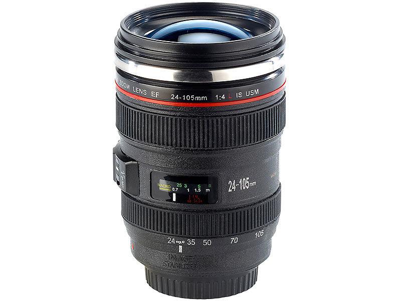 Kameraobjektiv Tee Kaffee Heiß Getränk Edelstahl Thermos 500 ML Flasche /& Becher
