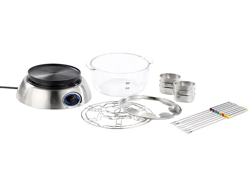 rosenstein s hne elektro fondue elektrisches fondue set mit glasschale watt fondue. Black Bedroom Furniture Sets. Home Design Ideas