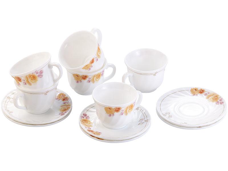 rosenstein s hne kaffeeservice opalglas kaffeetassen untertassen mit blumendekor geschirr. Black Bedroom Furniture Sets. Home Design Ideas