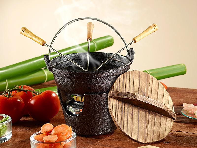rosenstein s hne antik asiatisches gusseisen fondue set. Black Bedroom Furniture Sets. Home Design Ideas