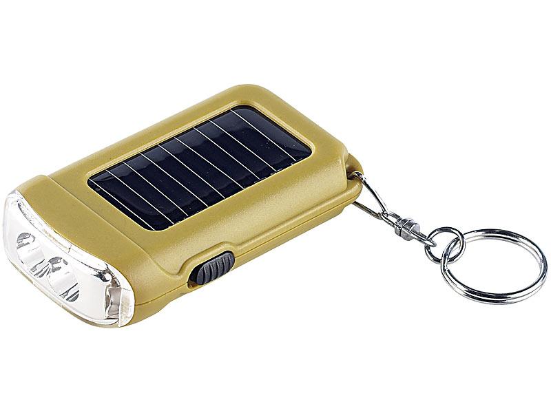 lunartec solar led taschenlampe mit schl sselanh nger. Black Bedroom Furniture Sets. Home Design Ideas