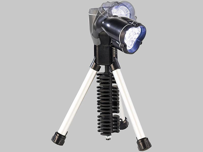 Lunartec 3in1-LED-Taschenlampe mit Stativ, rote & weiße LEDs, 3 W ...