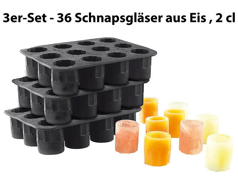 Silikon-Formen 3er-Set für 36 Schnapsgläser aus Eis