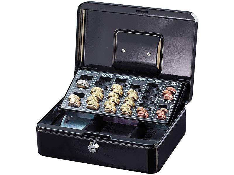 xcase geldkasse sicherheits stahl geldkassette mit euro m nzz hlbrett und tragegriff. Black Bedroom Furniture Sets. Home Design Ideas