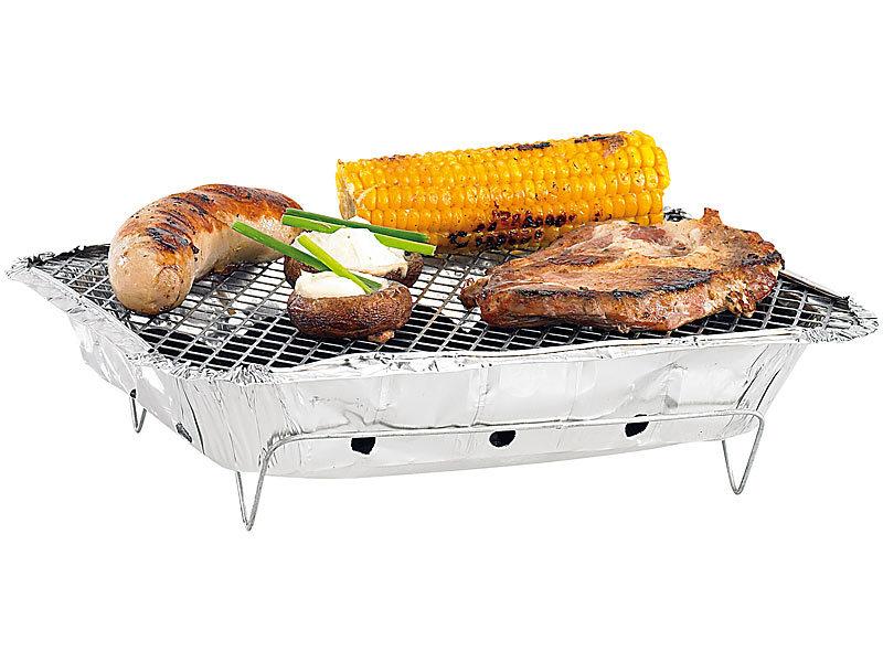 infactory handliche einweg grills mit kohle und anz nder 6er set. Black Bedroom Furniture Sets. Home Design Ideas