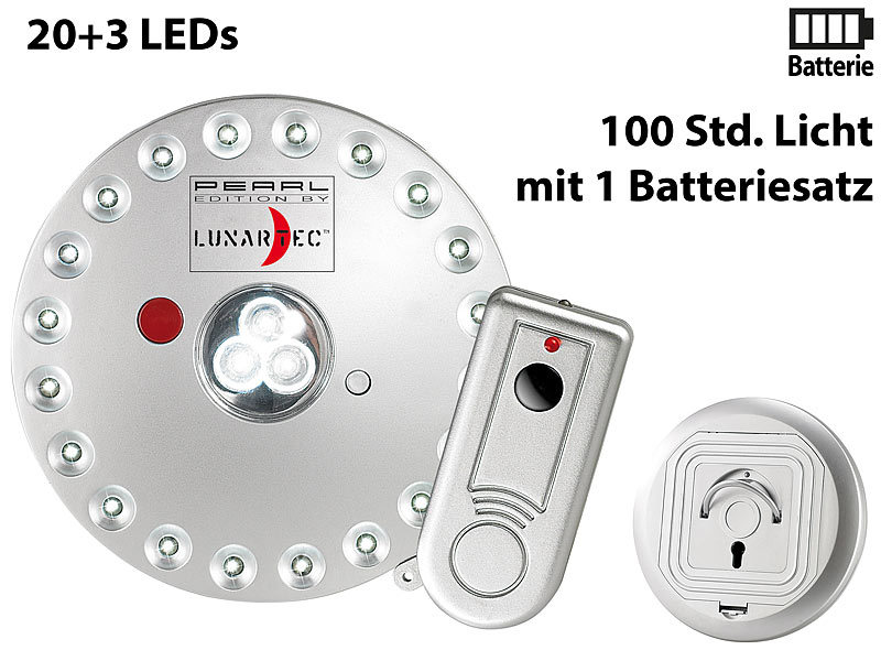 lunartec lampe batterie rundleuchte mit 20 3 leds inklusive fernbedienung led mit batterie. Black Bedroom Furniture Sets. Home Design Ideas