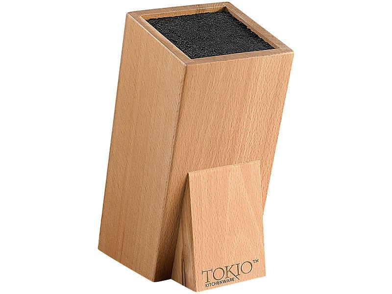 TokioKitchenWare Universal-Messerblock aus Holz mit Borsteneinsatz