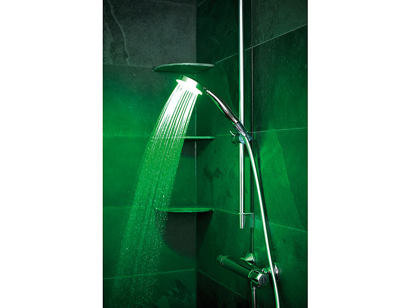 infactory led duschkopf mit 3 fach farbwechsler. Black Bedroom Furniture Sets. Home Design Ideas