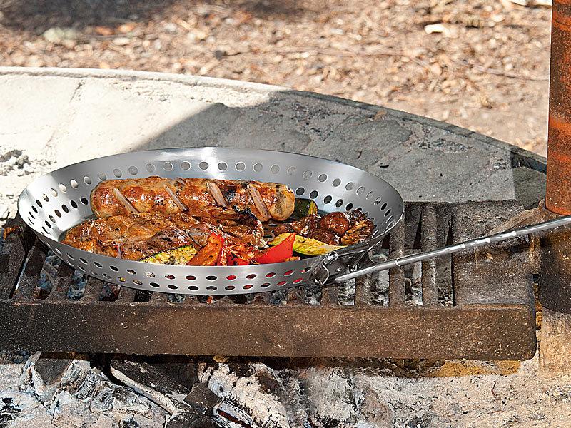 Edelstahl Grillpfanne Für Gasgrill : Rosenstein söhne grillschale grillpfanne aus edelstahl mit