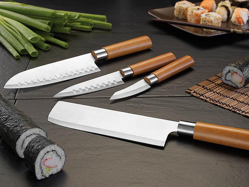 TokioKitchenWare PEARL Edition 4-teiliges Küchen-Messerset, Edelstahl