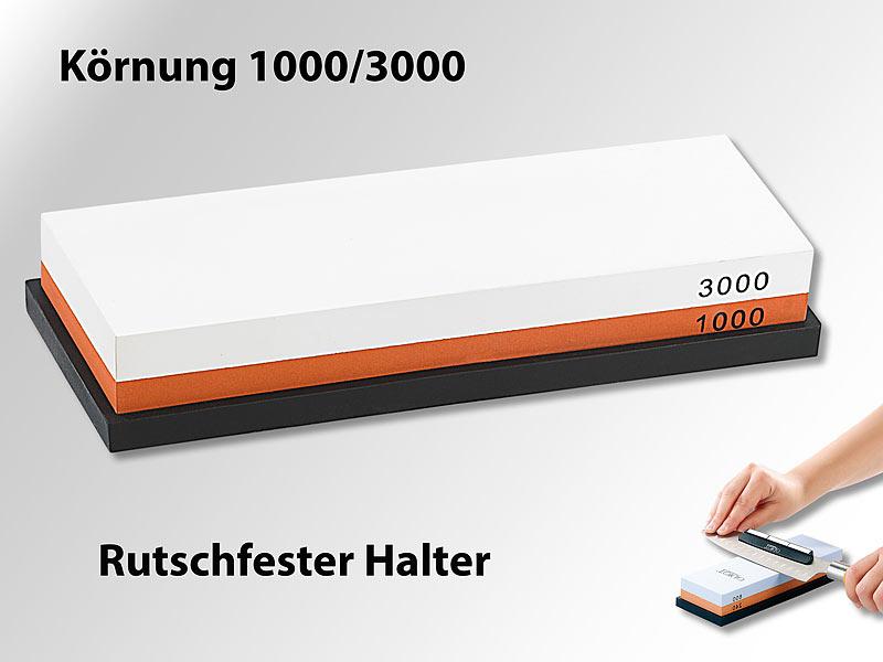 Doppel Wasser-Schleifstein, Körnung 1000/3000 & rutschfester Halter