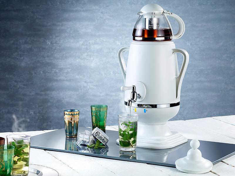 pearl samowar teebereiter mit glas teekanne watt 3 5 und 0 5 liter. Black Bedroom Furniture Sets. Home Design Ideas