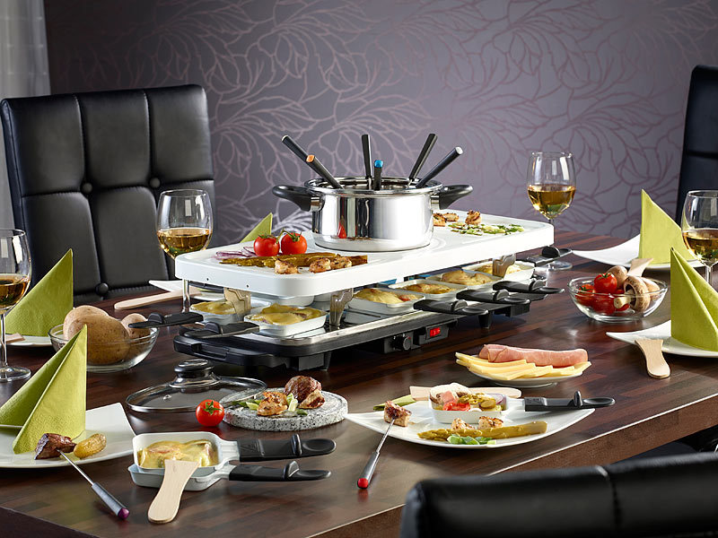 tv das original keramik raclette und fondue set f r bis zu 12 personen watt. Black Bedroom Furniture Sets. Home Design Ideas