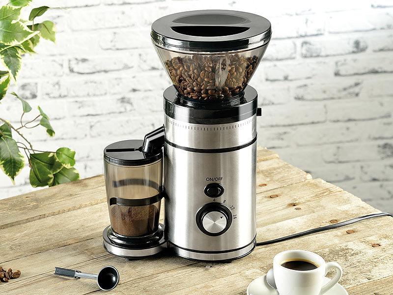 Rosenstein & Söhne Elektrische Edelstahl-Kaffeemühle mit Kegelmahlwerk   {Kaffeemühlen 21}