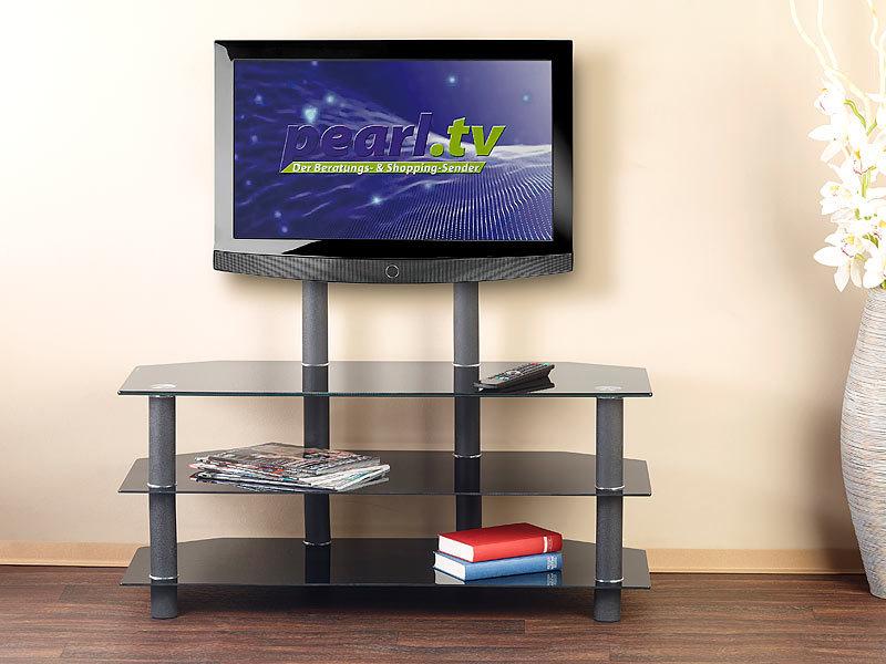 carlo milano tv glas kommode tv rack f r flachbildschirme mit 32 52 max 50 kg 1 tv und. Black Bedroom Furniture Sets. Home Design Ideas