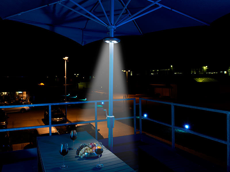 lunartec sonnenschirmbeleuchtung helle led schirmleuchte. Black Bedroom Furniture Sets. Home Design Ideas