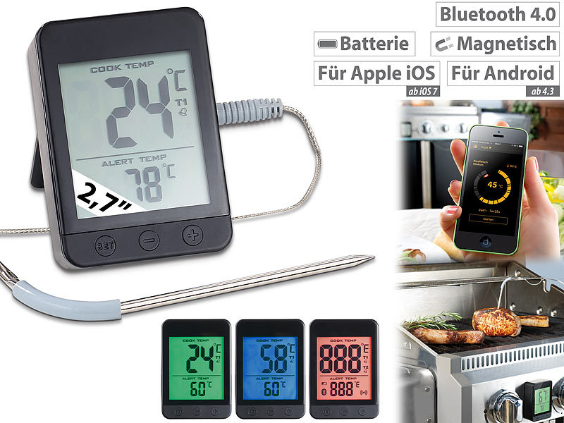 rosenstein s hne backofenthermometer grillthermometer bluetooth app f r android ios 1. Black Bedroom Furniture Sets. Home Design Ideas