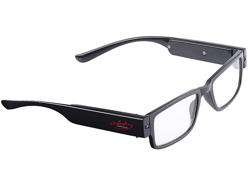 infactory modische brille mit led leselicht und akku ohne. Black Bedroom Furniture Sets. Home Design Ideas