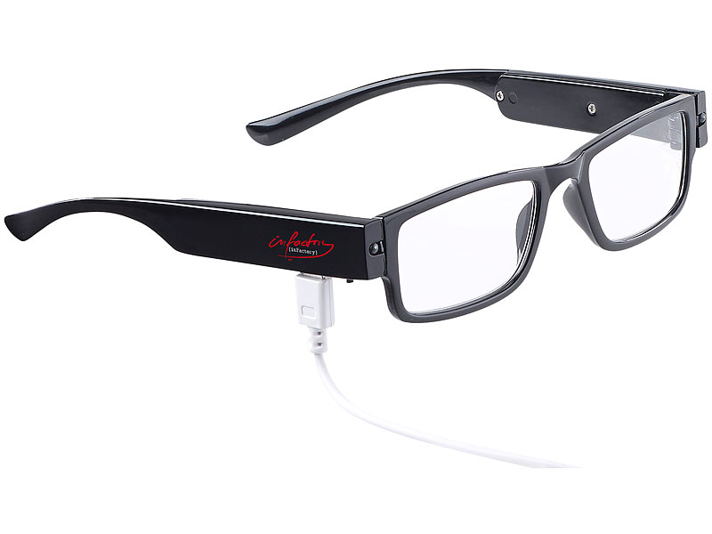 brille licht modische brille mit led leselicht und akku. Black Bedroom Furniture Sets. Home Design Ideas