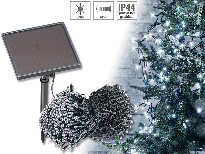 lunartec solar led lichterkette 500 leds d mmerungssensor wei 50 m ip44. Black Bedroom Furniture Sets. Home Design Ideas