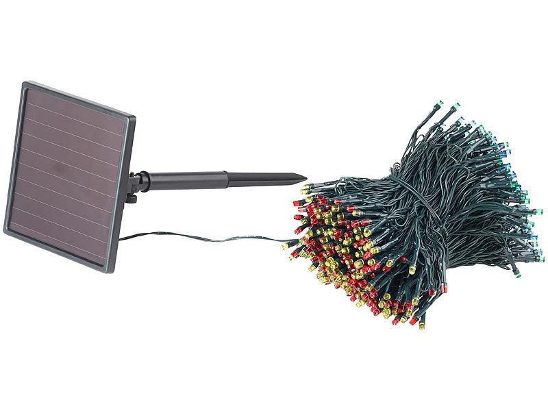 lunartec solar beleuchtung 4 farbige solar led lichterkette mit 500 leds und timer ip44 50 m. Black Bedroom Furniture Sets. Home Design Ideas