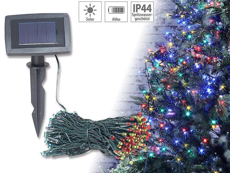 lunartec solar kaltlichtkette 4 farbige solar led lichterkette mit 200 leds und timer ip44 20. Black Bedroom Furniture Sets. Home Design Ideas