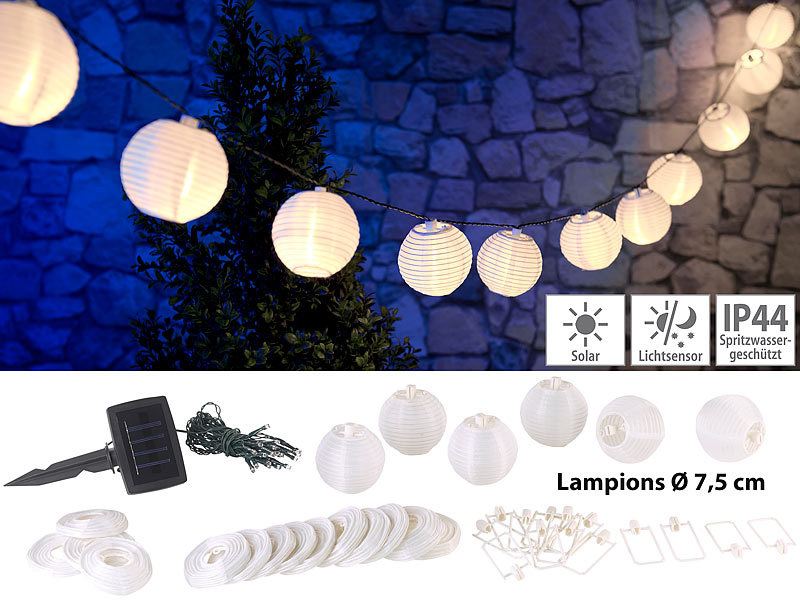 lunartec solar lampionkette solar led lichterkette warmwei mit 20 wei en lampions 3 8 m. Black Bedroom Furniture Sets. Home Design Ideas