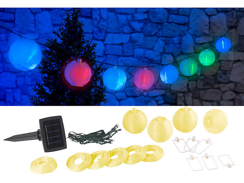 lunartec solar led gartendekos solar led lichterkette mit 10 mini lampions 1 8 m ip44 led. Black Bedroom Furniture Sets. Home Design Ideas