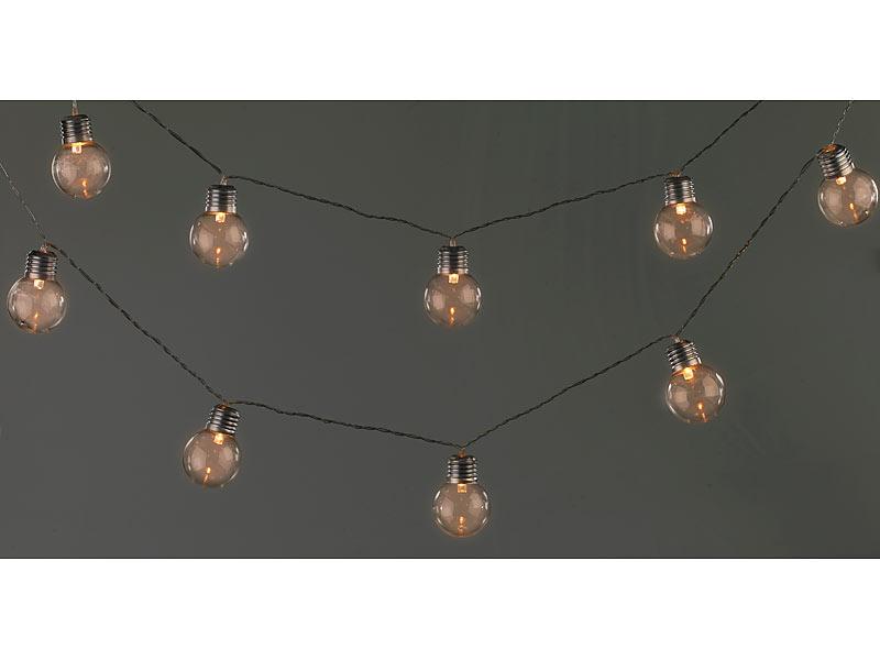 lunartec party licht solar led lichterkette mit 10 led gl hbirnen 1 8 meter ip44 led solar. Black Bedroom Furniture Sets. Home Design Ideas