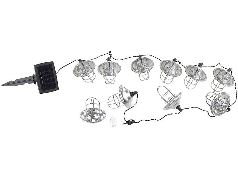 lunartec solarlichterketten solar led lichterkette mit 10 metall laternen warmwei ip44 1 6. Black Bedroom Furniture Sets. Home Design Ideas