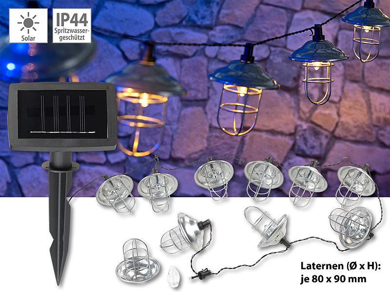 lunartec led lichterkette au en solar led lichterkette mit 10 metall laternen warmwei ip44. Black Bedroom Furniture Sets. Home Design Ideas