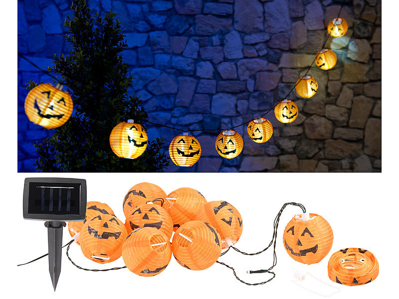 lunartec halloween dekoration solar lichterkette mit 10 led lampions im halloween k rbis look. Black Bedroom Furniture Sets. Home Design Ideas