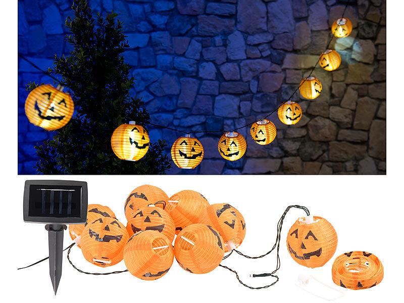 lunartec solar lichterkette mit 10 led lampions im halloween k rbis look ip44. Black Bedroom Furniture Sets. Home Design Ideas