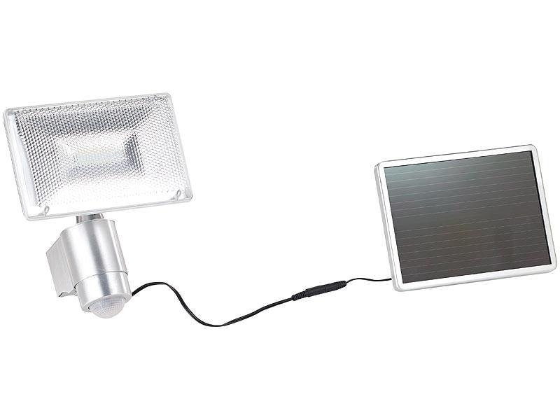 luminea solar fluter solar led strahler aus aluminium mit pir sensor 10 w lm ip44. Black Bedroom Furniture Sets. Home Design Ideas