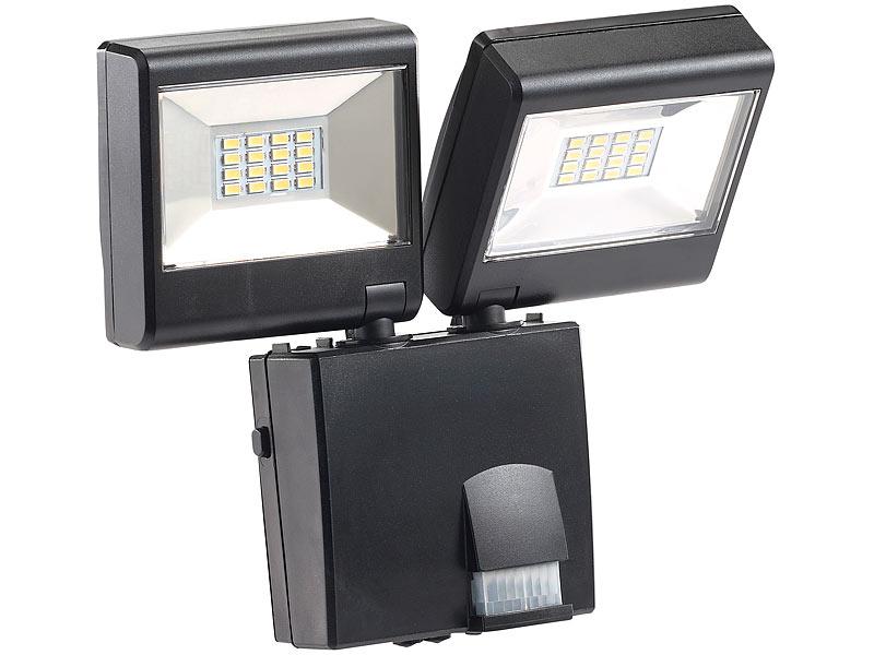 luminea strahler duo led au enstrahler mit pir sensor 16 watt lm ip44 strahler mit. Black Bedroom Furniture Sets. Home Design Ideas