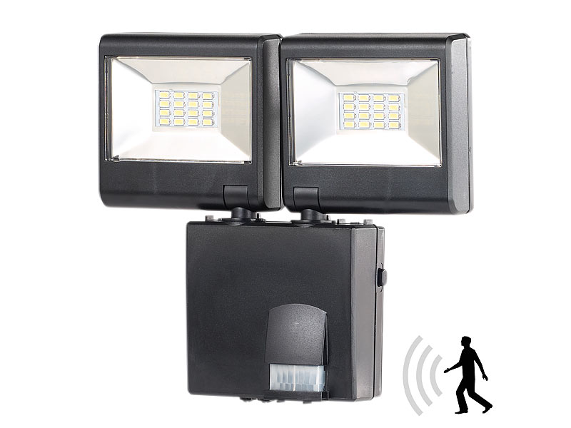 luminea strahler duo led au enstrahler mit pir sensor 16 watt lm ip44 led strahler. Black Bedroom Furniture Sets. Home Design Ideas